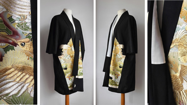Long Midi Cape Jacket with Gold Silk Embroidery. Pure Wool Fabric with Standing Kimono Collar