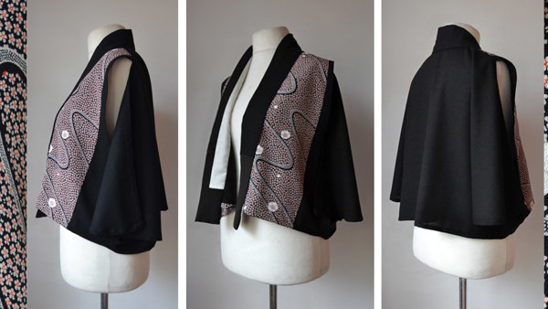 Caplet with Full Draped Back and Silk Japanese Panels