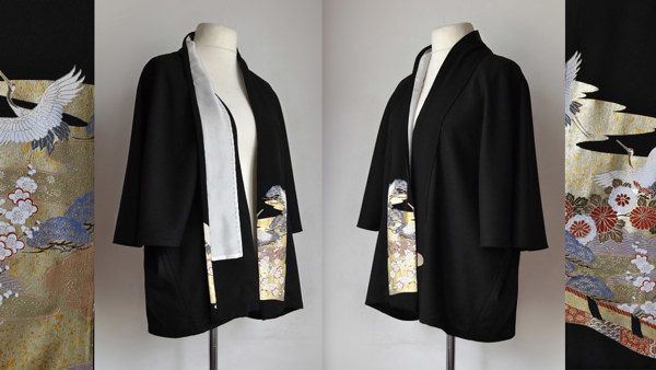 Hip length Cape Jacket with Incandescent Japanese Silk Panels