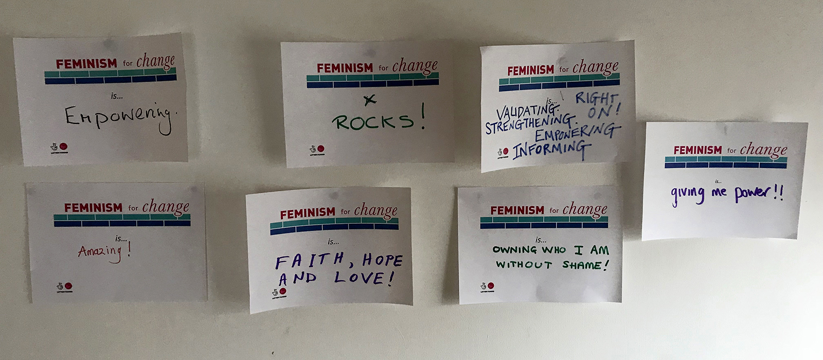 feminism for change participant feedback wall - amazing, rocks, empowering, validating etc