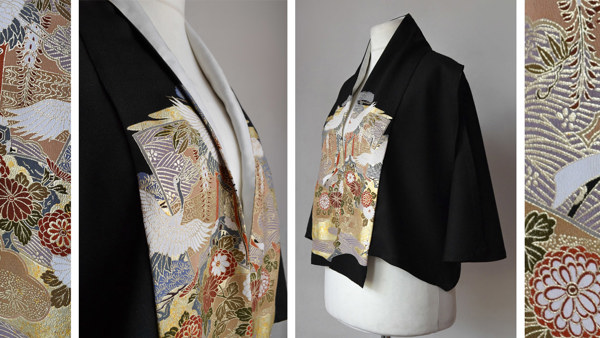 Caplet with Japanese Silk Front Collar Panels and Ivory Silk Inlay