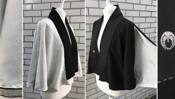 Reversible Silk & Cotton Linen Cape Jacket /Ivory and Black / Arm Splits with Wide Standing Collar/