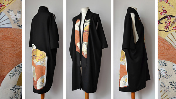 Long Sleeveless Cape Jacket with Kimono Collar and Hand-painted Silk Japanese Fabric