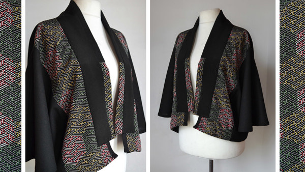 Loose Fitting Geometric Silk & Wool Cape Jacket